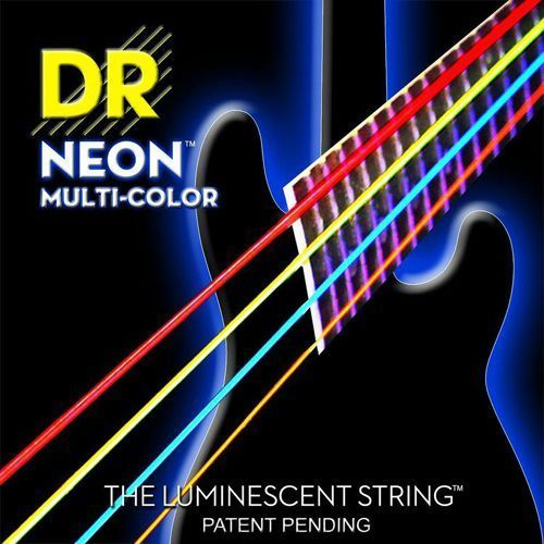 DR NEON Hi-Def Multi-Color - struny do gitary basowej, 5-String, Medium,.045-.125
