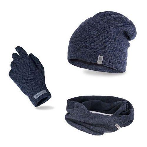 Komplet męski PaMaMi - czapka, szalik, rękawiczki - Granatowa mulina (5902934061896)