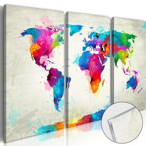 Obraz na szkle akrylowym - Mapa świata: Eksplozja kolorów [Glass], A0-Acrylglasbild161 (7739226)