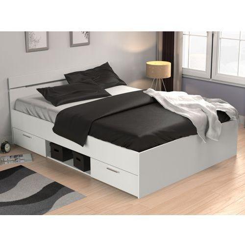 Vente-unique Łóżko gaspard z szufladami - 140 × 190 cm - biały