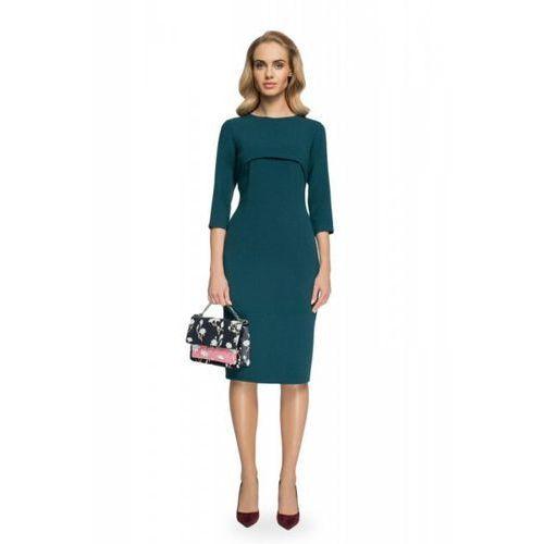 068832762f s075 sukienka z bolerkiem - zielona