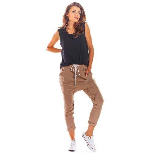 Dresowe spodnie z obniżonym krokiem - beżowe, Infinite you, 36-42