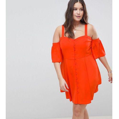 ASOS DESIGN Curve Puff Sleeve Cold Shoulder Mini Sundress - Red, 1 rozmiar
