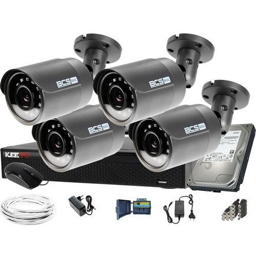 ZM12023 Zestaw do monitoringu Rejestrator LV-XVR44SE-II 4x BCS Kamera tubowa FullHD Dysk 1TB akcesoria