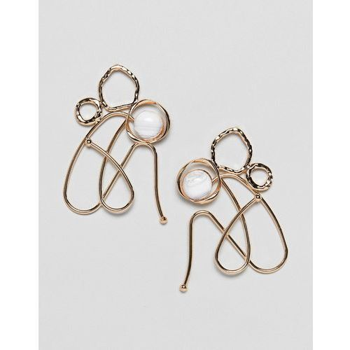 ASOS DESIGN earrings in abstract wire design with faux marble stone in gold - Silver