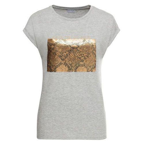 fde06ff212666a Shirt z dwustronnymi cekinami bonprix szary melanż, wiskoza 74,99 zł Shirt  z dwustronnymi cekinami i napisem. Fason z krągłym dekoltem i krótkimi  rękawami.