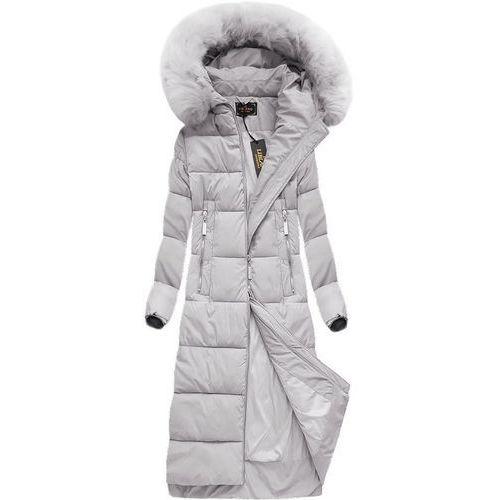 Długa kurtka zimowa z kapturem szara (7688big) - szary marki Libland