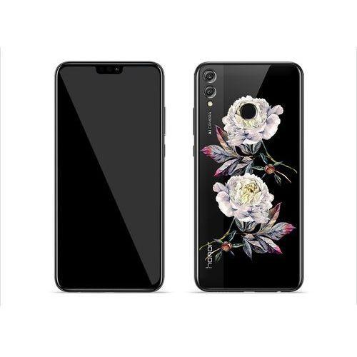 Huawei Honor 8X - etui na telefon Crystal Design - Białe piwonie, kolor biały