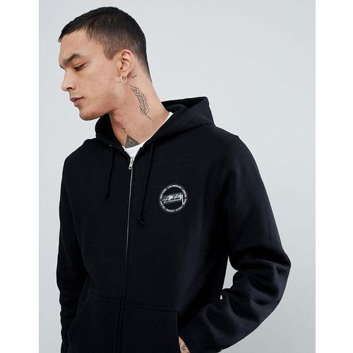 Stussy zip through hoodie with international back print - black