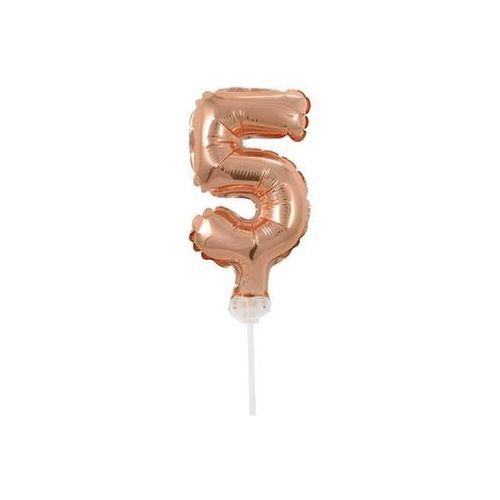 Go Balon foliowy cyfra 5 złoty róż - 13 cm