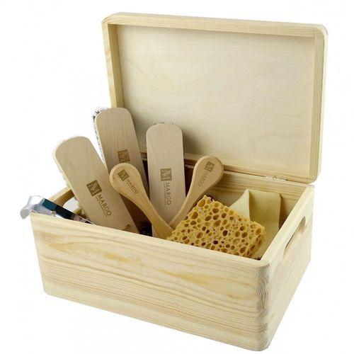 Zestaw 8el. szczotek i akcesoriów do pielęgnacji obuwia, 100% końskie włosie lub 100% szczecina, drewniana skrzynia