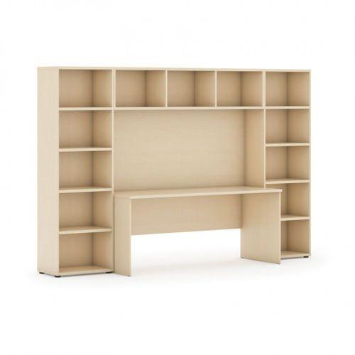 Biblioteka z wbudowanym biurkiem, niska, 2950x700/400x1923 mm, brzoza