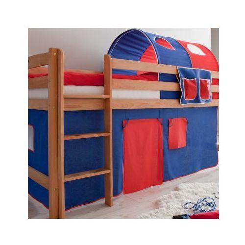TICAA Łóźko piętrowe TIMMY buk ekologicznie naoliwione -niebieski/czerwony - oferta [45c7e7030132f40d]