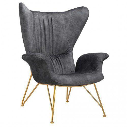 Fotel SHRIMP ALCANTARA ciemny szary - alcantara, podstawa złota, SHRIMP ALCANTARA_20190503144046