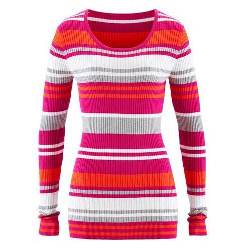 Bonprix Sweter z okrągłym dekoltem fuksja w paski