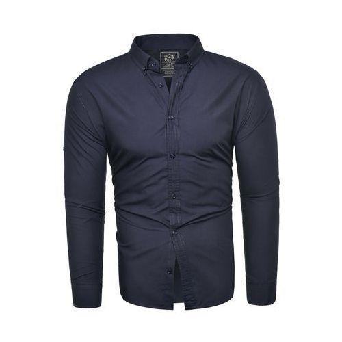 Gładka koszula męska (rl54) - granatowa, Risardi, S-XXXL