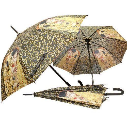 Parasol - G.Klimt Pocałunek czarne tło