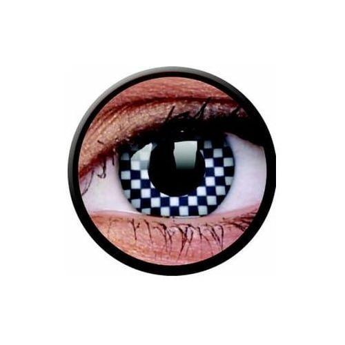 Soczewki kolorowe białe CHEQUERED Crazy Lens 2 szt. (9555644810658)