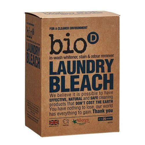 - - laundry bleach - ekologiczny odplamiacz, wybielacz, eliminator zapachów, mający właściwości antybakteryjne i odkażające. usuwa plamy zarówno z białych, jak i z kolorowych tkanin. nie zawiera chloru ani środków wybielających. marki Bio-d