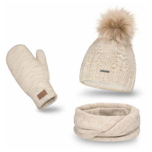 Komplet , czapka, komin i rękawiczki - beżowy marki Pamami