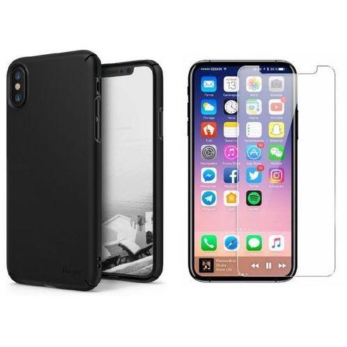 Zestaw | Rearth Ringke Slim Black | Obudowa + Szkło ochronne Perfect Glass dla modelu Apple iPhone X / 10