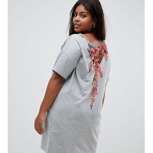 ASOS DESIGN Curve t-shirt dress with rose embroidery - Grey