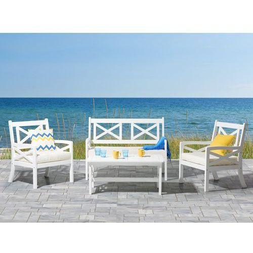 Meble ogrodowe białe - ogród - stół z 2 krzesłami i ławką - baltic marki Beliani