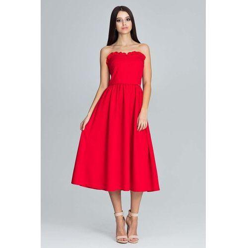 Czerwona Wieczorowa Midi Sukienka Gorsetowa z Falbankami, w 4 rozmiarach
