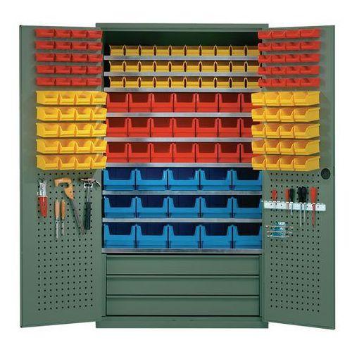 Szafa o dużej pojemności,9 półek, 146 otwartych pojemników magazynowych, 3 szuflady marki Mauser