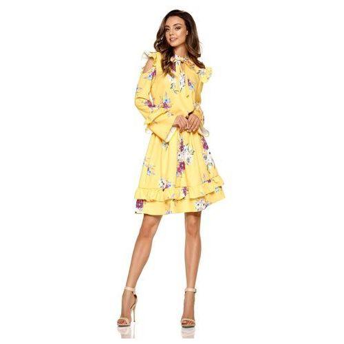 Żółta Wzorzysta Sukienka w Kwiaty z Falbankami Typu Cold Shoulder
