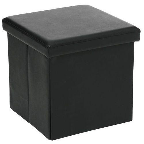 Pufa ze sztucznej skóry, pufa 2 w 1 ze schowkiem, podnóżek - kolor czarny (3560239422150)