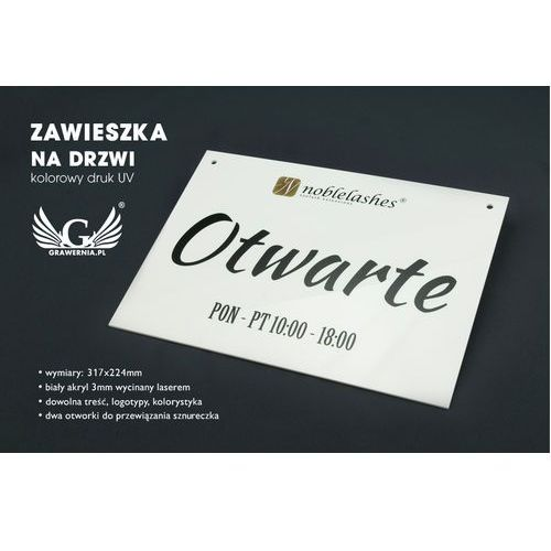 Tabliczka na drzwi otwarte/zamknięte - wymiary: 317x224mm - kolorowy druk uv marki Grawernia.pl - grawerowanie i wycinanie laserem