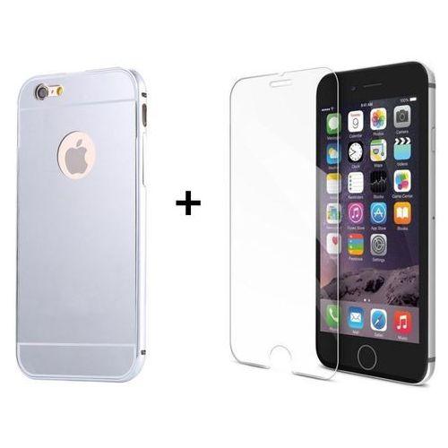 Zestaw | Mirror Bumper Metal Case Srebrny + Szkło ochronne Perfect Glass | Etui dla Apple iPhone 6 / 6S