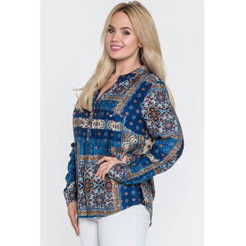 Wizytowa bluzka z dekoltem typu henley - Duet Woman, kolor niebieski