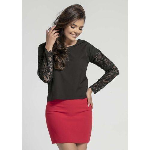 0aa1bdeee7 Czarna stylowa bluzka z długim rękawem z koronki