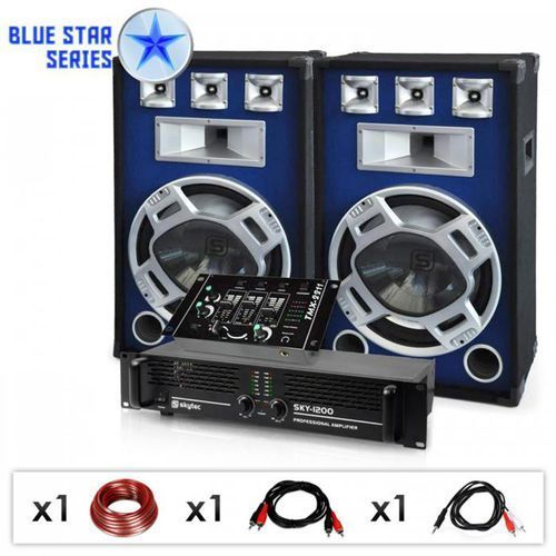 """Zestaw dj pa""""bassmix"""" z serii blue star 1600 watt marki Elektronik-star"""