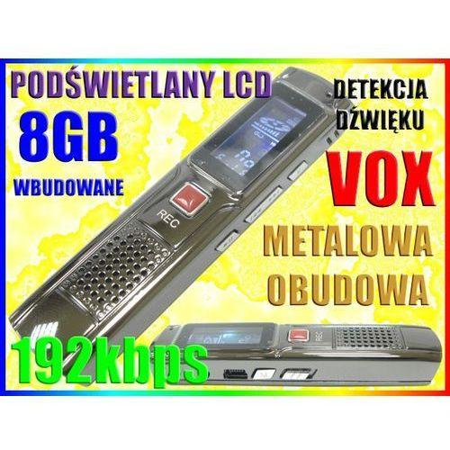 DYKTAFON CYFROWY PODSŁUCH 192kbps 8GB WYŚW LCD VOX, Sklep-Szpiegowski.PL