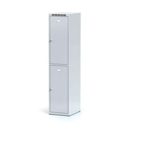 Metalowa szafka ubraniowa 2-drzwiowa, drzwi szare, zamek cylindryczny