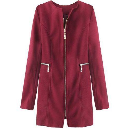 Prosty płaszcz z kieszeniami bordowy (200art) marki Made in italy
