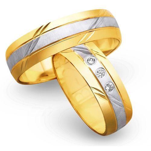 Obrączki z żółtego i białego złota 6mm - O2K/024 - produkt dostępny w Świat Złota