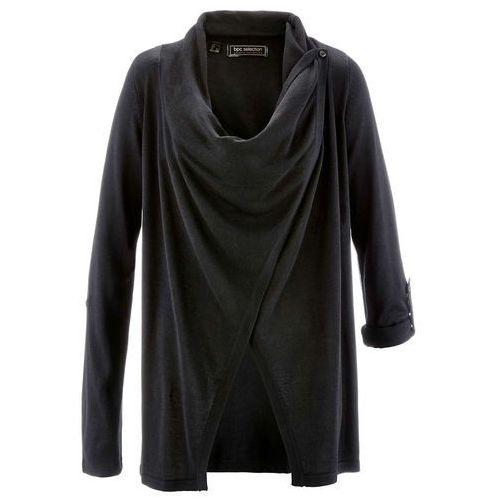 Sweter rozpinany bonprix czarny, w 8 rozmiarach