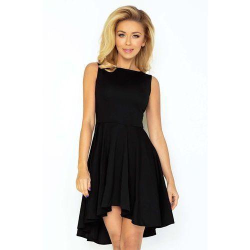 Czarna Sukienka Elegancka Mocno Rozkloszowana z Wydłużonym Tyłem, rozkloszowana