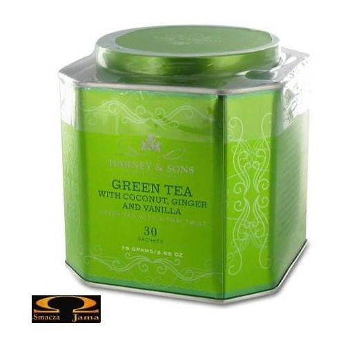 Herbata Harney & Sons- Green tea with coconut, ginger and vanilla, puszka piramidki 30 szt., 2951