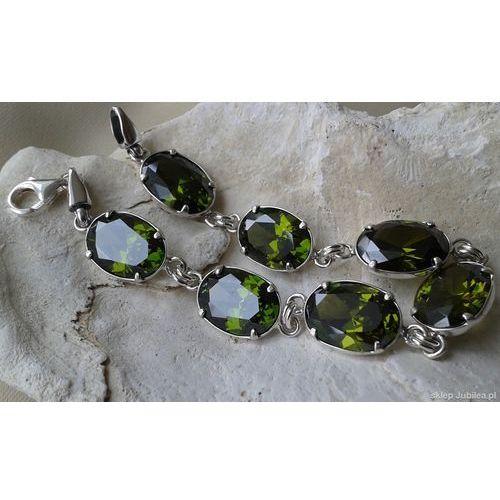 VERONA - srebrna bransoletka z oliwinami, kolor szary