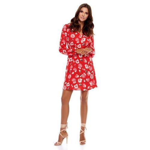 Sukienka regi czerwona w kwiaty marki Sugarfree