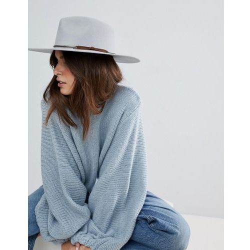 Brixton structured hat in grey with metal band - grey