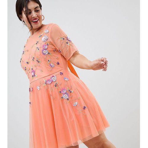 ASOS DESIGN Curve premium embellished tulle open back mini dress - Orange, 1 rozmiar