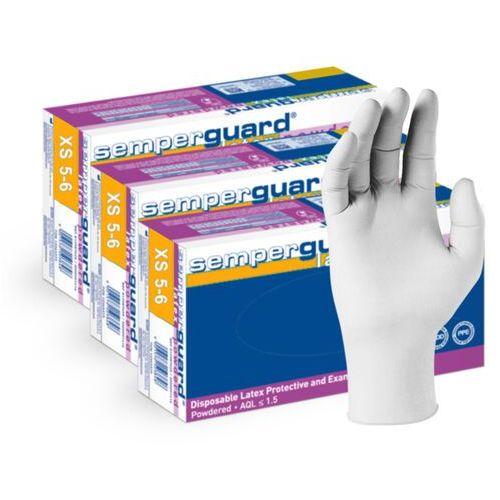 Semperit 3 x lateksowe rękawice ochronne semperguard, pudrowane, białe 300 szt łącznie - roz. xs