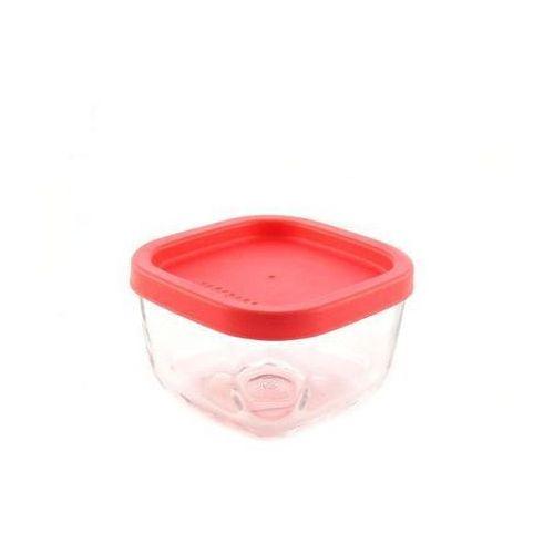Quiselle Szklany pojemnik 270ml kwadratowy koral(SZPO 063) Darmowy odbiór w 15 miastach! - produkt z kategorii- Pozostały sprzęt AGD
