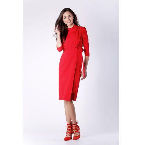 dbc77ac6f9 Nommo Dopasowana czerwona sukienka za kolano z rozporkiem na boku 128